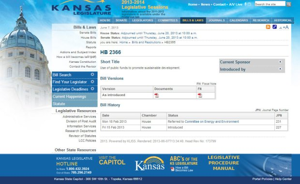 2013-06-07_Kansas legislature website_Fullscreen capture 672013 114130 AM